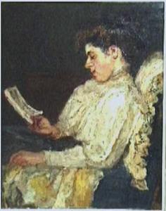 Portret van een lezende vrouw
