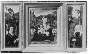 Drieluik met Augustyn van Teylingen en de H. Augustinus (links), Maria met kind en musicerende engelen (midden), Josina van Egmond van der Nieuburgh en de H. Barbara (rechts)