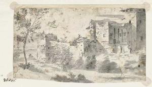 Romeinse ruïnes in een landschap