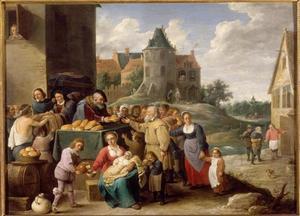 Scène in een dorpsstraat: de zeven werken van barmhartigheid