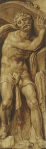 Simson draagt de deuren van de stadspoort van Gaza op zijn schouders (Richteren 16:3) Samson carries the doors of the gates of Gaza on his shoulders (Judges 16:3) 71F3631