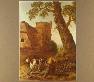 Landschap met pissende hond bij een boomstronk, op de achtergrond een boerderij en vervallen bastion