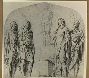 Vijf figuren in romeins kostuum