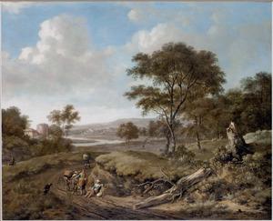 Duinlandschap met rustende reizigers op een landweg bij een omgevallen boom