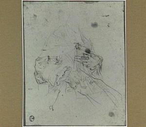 Kledingstudie van een zittende vrouw met een waaier en een boek