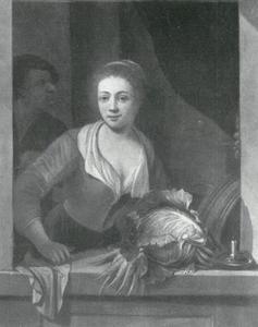 Jonge vrouw bij het raam