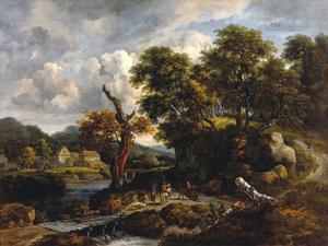 Reizigers en herders op een wegsplitsing bij een dode boom
