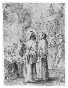 Voorstelling uit het leven van een heilige monnik, staand bij een ongedeerd lam in vlammen