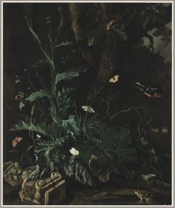 Bosstilleven met een distel, vlinders, een pad en een Ionisch kapiteel