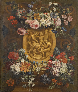 Met bloemen versierde cartouche rondom een reliëf met bacchanaal