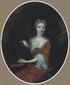 Portret van een onbekende vrouw bij  een fontijn