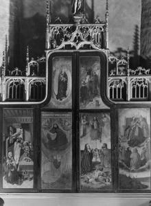 De dood van Joachim, Abraham, de Madonna Apocalypse (buitenzijde linkerluik); Het Laatste Oordeel, de kroning van Maria door Christus en God de Vader, de Gregoriusmis (buitenzijde rechterluik)