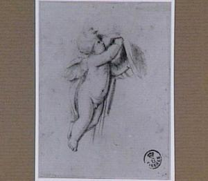 Putto, een draperie ophoudend