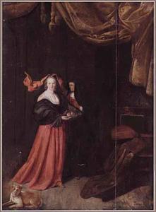 Interieur met een jonge vrouw met een schaal met fruit en een oude diensmaagd