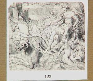 Mythologische figuur gezeten op een schelp, voortgetrokken door een stier en een eenhoorn