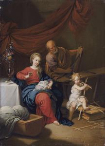 De heilige familie in de werkplaats met Maria handwerkend en Jozef aan het houtbewerken