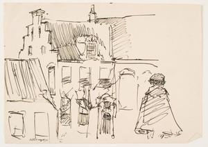 Gevels en daken van huizen en een figuur op de rug gezien