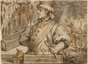 Allegorisch portret van koning Boudewijn VII Hapkin, graaf van Vlaanderen (1093-1119), genaamd Boudewijn met de Bijl