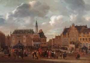 Aankondiging van de Vrede van Münster in 1648 vanaf het balkon van het stadhuis aan de Grote Markt te Haarlem
