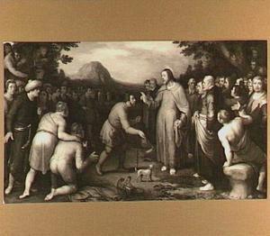 Christus maakt de blinde van Bethsaïda ziende (Marcus 8: 22-25) met portretten van Jan Govertsz. van der Aar en zijn vrouw