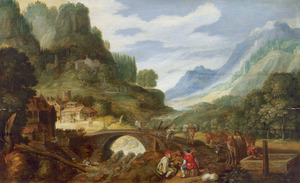 Berglandschap met reizigers en hun pakpaarden rustend bij een drinkbak