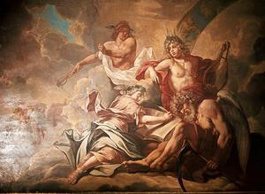 Allegorie beeltenis van Apollo, Mercurius en Vadertje Tijd dicteeren de heldendaden van Brandenburg -Pruisen natie aan Geschiedenis