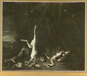 Jachtstilleven met hazen en gevogelte