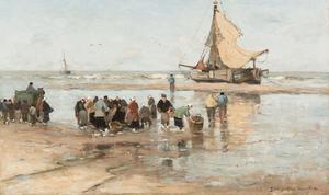 Vissersvolk op het strand (Katwijk aan Zee )