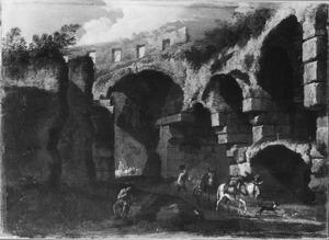 Zuidelijk landschap met Romeinse ruïnes