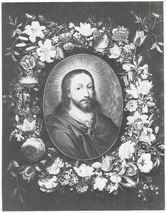 Bloemenkrans rondom een portret van Christus