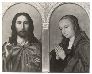 Christus als Salvator Mundi (links), biddende Maria (rechts)