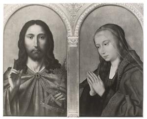 Christus als Salvator Mundi (links), biddende Maria (rechts)