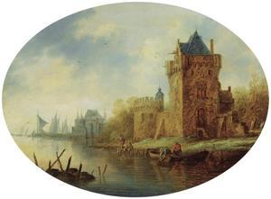 Rivierlandschap met een versterkte stad aan de oever, vissers op de voorgrond en zeilboten in de verte