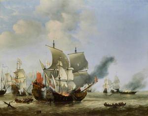 Het in de brandsteken van het Engelse schip 'Andrew' door het Nederlandse schip 'Fortuin' tijdens de Zeeslag bij Ter Heijde, augustus 1653