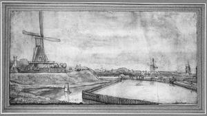 Amsterdam, molen De Hooiberg op het bolwerk Slotermeer (voorheen: De Anjelier) bij de Raampoort en Zaagmolenpoort
