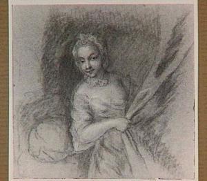 Jonge vrouw die het gordijn van een bedstede dichttrekt
