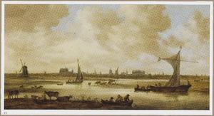 Gezicht op Leiden gezien vanuit het noorden met vee grazend op de voorgrond
