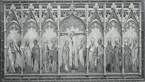De kruisiging van Christus met Maria, Johannes en de twaalf apostelen