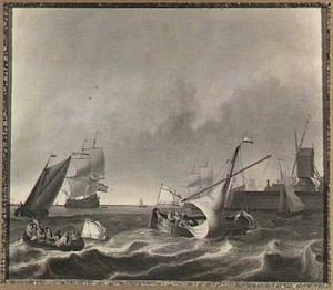 Schepen op het IJ, rechts de Amsterdamse molen De Bok op het bolwerk Leeuwenburg (ook wel Blauwhoofd genoemd)