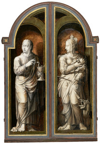 Johannes de Evangelist (linkervleugel) en Margaretha (rechtervleugel)
