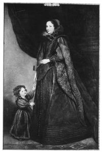 Portret van een onbekende Genuese vrouw met een kind