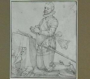 Portret van een knielende man in harnas
