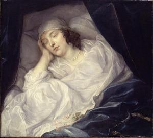 Portret van Venetia Anastasia Stanley, Lady Digby (1600-1633) op haar doodsbed