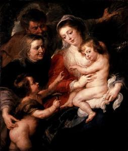 Heilige Familie met Elizabeth en Johannes de Doper als kind met een hamertje