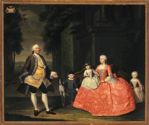 Familieportret van Cornelis Caspar van Wijkerslooth en Maria Johanna Charlotta van Kuickhoven met hun kinderen in 1753