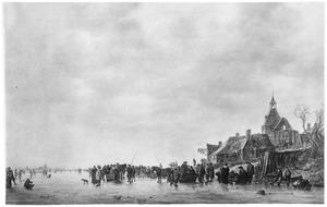 IJvermaak op de Beneden Merwede bij Papendrecht, met Dordrecht in het verschiet