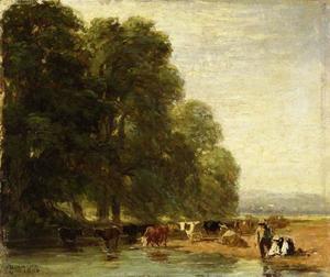 Landschap met vee bij een vijver