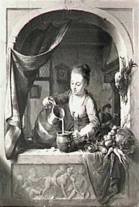Een vrouw in een venster die melk schenkt