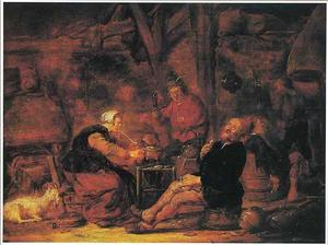 Interieur met rokende en drinkende boeren