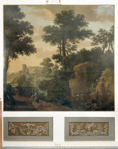 Arcadisch landschap met een drietal reizigers op de voorgrond